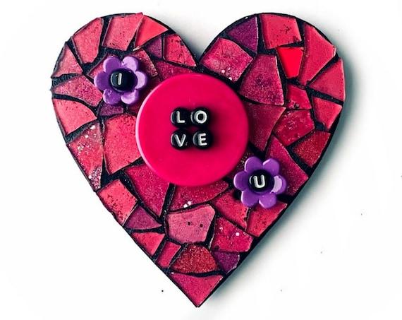 Hot Pink Heart Magnet, I Love You Mosaic Heart Magnet, Pink Glitter Heart Mosaic Heart Magnet, I Love U Pink Purple Mosaic Heart Magnet