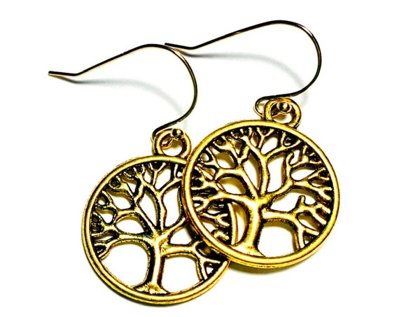 Bronze Brass Gold Plate Tree of Life Earrings, Pierced Bronze and Gold Plate Tree Earrings, Goldtone Handmade Tree of Life Earrings