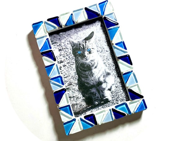 Blue Mosaic Glass Tile Frame, Multi Blue Shades Mosaic Tile Frame, 4x6 Mosaic Frame, Blue White Glass Tile Mosaic Frame, Blue Mosaic Frame