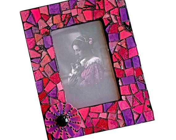 Pink Mosaic Photo Frame, Pink Purple Mosaic Frame, 4 x 6 Photo Mosaic Frame, Bright Pink Flower Purple Mosaic Picture Frame, Flower Frame