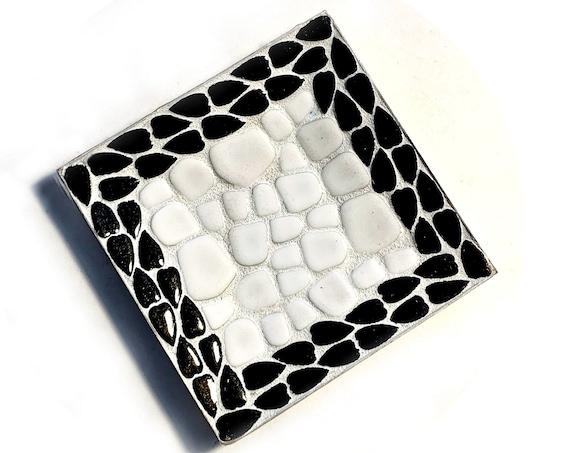 Vintage Mosaic Tray, Black White Mosaic Dish, Small Vintage Mosaic Tray, MCM Mosaic Ring Dish, Mosaic Change Catcher, Retro Mosaic  Tray