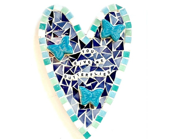 Butterfly Heart Plaque, Heart Shaped Mosaic Butterfly Plaque, You Give Me Butterflies Mosaic Heart Wall Decor, Blue Butterfly Mosaic Heart