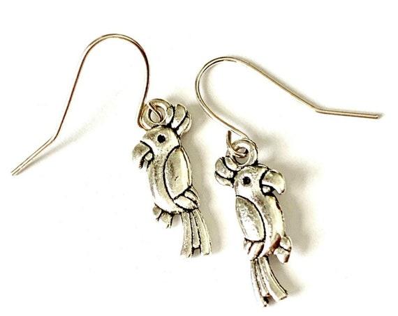 Parrot Earrings, Silvertone Cockatiel Earrings, Handmade Cockatoo Earrings, Dangling Pierced Parrot Earrings, Pierced Bird Parrot Earrings