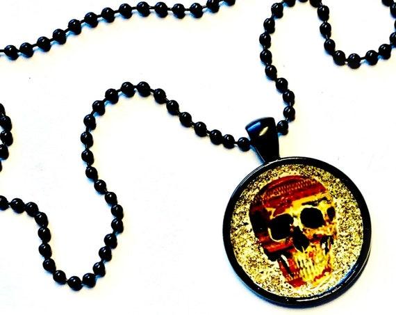 "Skull Necklace, Black Skull Pendant, 25mm Black Glitter Skull Pendant on 24"" Black Chain, Black Skull Pendant on Adjustable Ball Chain"