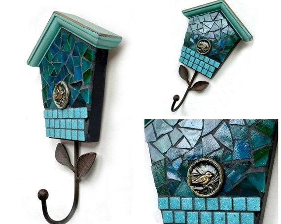 Bird House Mosaic Wall Hook, Teal Blue Aqua Mosaic Hook, Mosaic Bird House Decorative Hook, Teal Bird Wall Hanging Hook, Multi Media Hook