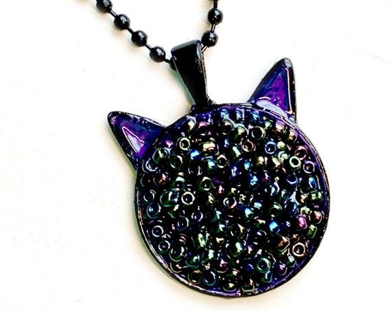"Cat Pendant Necklace, CAT Pendant, 25mm Black Purple Cat Pendant on 24"" Black Chain, Cat Shaped Necklace, Black Cat Embelished Pendant"