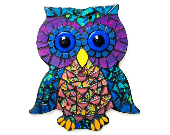 Mosaic Owl, Mixed Media Owl Wall Decor, Black Blue Purple Mosaic Owl Art, Mosaic Wall Art, Mosaic Owl Wall Hanging, Mosaic Owl Art