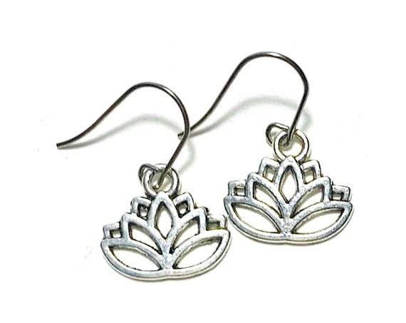 Lotus Flower Earrings, Silvertone Lotus Earrings, Handmade Lotus Earrings, Dangling Pierced Lotus Flower Earrings, Pierced Lotus Earrings