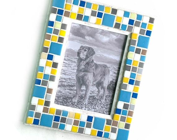 5x7 Mosaic Frame, Mosaic Picture Frame, White Blue Yellow Mosaic Frame, Glass Tile  Mosaic Frame, Blue Yellow Handmade Mosaic Frame