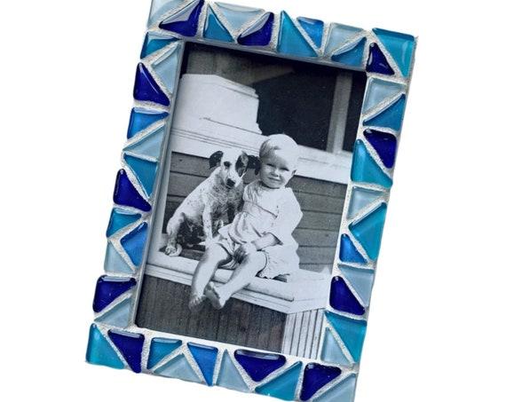Blue Mosaic Glass Tile Frame, Multi Blue Shades Mosaic Tile Frame, 4x6 Mosaic Frame, Blue White Glass Tile Mosaic Frame, Blue Mosaic Frame
