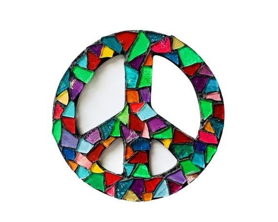 Mosaic PEACE Magnet, Mosaic Stained Glass Style Peace Sign Magnet, Peace Sign Magnet, Handmade Rainbow Stained Glass Mosaic Peace Magnet