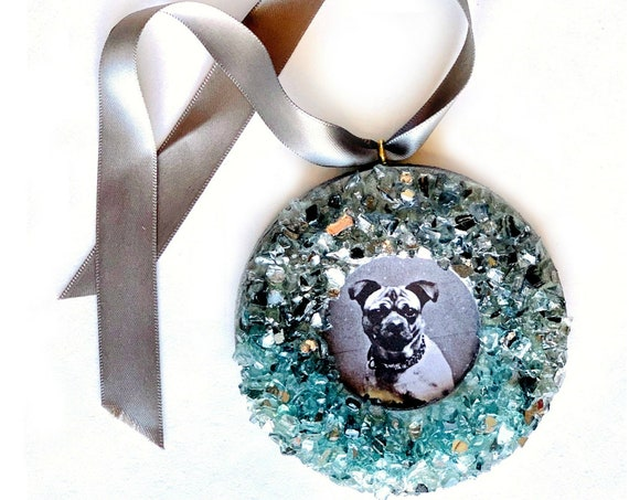 Silver Ice Blue Glass Frame Ornament, Silver Blue Sparkle Frame Ornament, Hanging Frame, Sparkle Glass and Wood Ornament, Hanging Frame