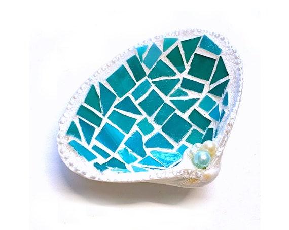 Mosaic Shell Ring Dish, Real Shell Ring Keeper, Beach Theme Ring Bearer Pillow, Pink Mosaic Seashell Ring Catcher, Pink Mosaic Shell Holder