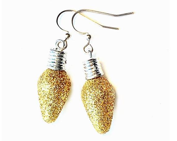 Gold Christmas Bulb Earrings, Sparkle Bulb Earrings, Dangling Gold Glitter Earrings, Holiday Sparkly Christmas Bulb Earrings, Xmas Earrings