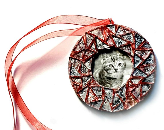 Mosaic Glitter Frame Ornament, Silver Red Sparkle Mosaic Frame Ornament, Hanging Frame, Red Glitter Silver Mosaic Ornament, Hanging Frame