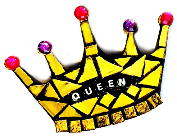 Queen Magnet, Gold Crown Magnet, Magnet for a Queen, Crown Shaped Magnet, Royalty Magnet, Mosaic Crown Magnet, Mosaic Queen Magnet