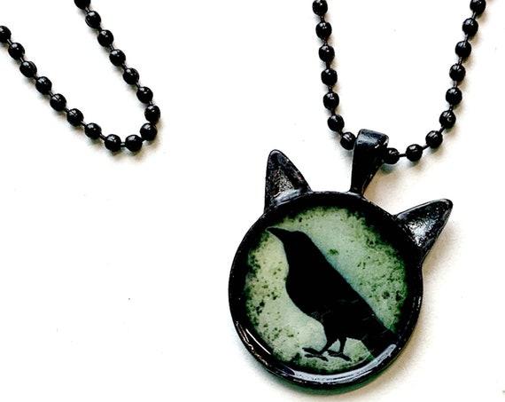 """Cat Crow Pendant Necklace, CAT CROW Pendant, 25mm Black Cat Crow Pendant on 24"""" Black Chain, Cat Shaped Necklace, Black Cat Gothic Pendant"""