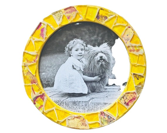 Yellow Magnetic Mosaic Frame, Round Yellow Mosaic Frame, Magnetic Mosaic Frame, Yellow Mosaic Round Magnet Frame