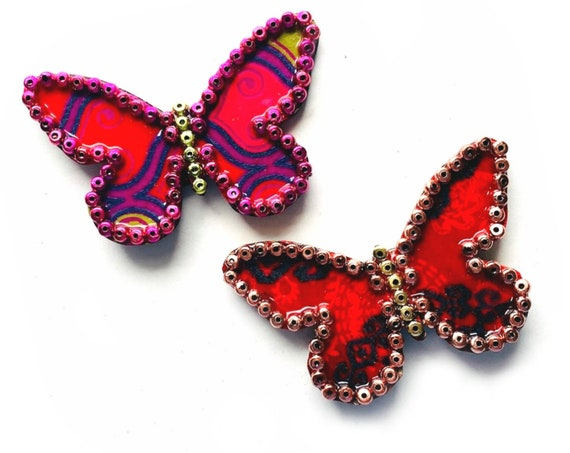 Butterfly Magnet Set,  3D Butterfly Magnets, Two  Butterfly Magnets, Red Butterfly Magnets, Embellished Butterfly Magnets, Two Butterflies