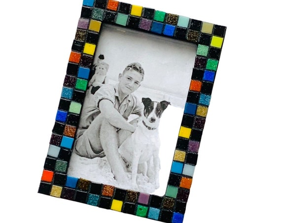 Glass Tile Mosaic Frame, 4 x 6 Rectangle Black and Brights Mosaic Frame, Confetti Multi Colored Mosaic Frame, Black Confetti Mosaic Frame