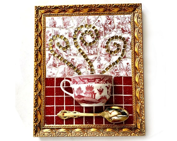 Mosaic Teacup Art, Red Willow Mosaic Floral Teacup Art, Mixed Media Coffee Art, Framed Tea Cup Art, Tea Lover Kitchen Mosaic Art, Teacup Art