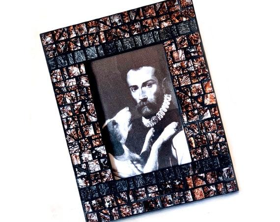Black Brown Shimmer Mosaic Photo Frame, Brown Black Silver Mosaic Frame, 4 x 6 Photo Mosaic Frame, Shimmering Black Brown Glass Mosaic Frame