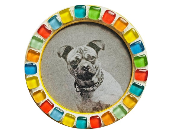 Yellow Magnetic Mosaic Frame, Round Yellow Mosaic Frame, Magnetic Mosaic Frame, Yellow Mosaic Round Magnet Frame, Blue Red Green Yellow