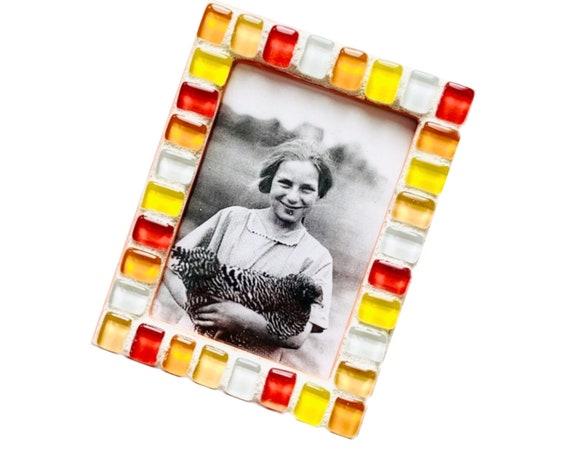 Orange Yellow Magnetic Mosaic Frame, Orange and Yellow Mosaic Frame, Magnetic Mosaic Frame, Orange Yellow Glass Mosaic Magnet Frame