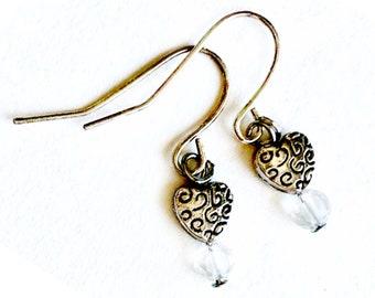 Crystal Heart Earrings, Clear Crystal Bead and Silvertone Heart Earrings, Heart Earrings, Dangling Pierced Heart and Crystal Bead Earrings