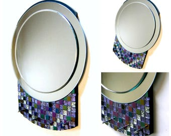 SALE Mosaic Mirror, Art Deco Style Round Mosaic Mirror, Three Dimensional 3D Mirror with Hooks, Purple Silver Round Mosaic Mirror with Hook