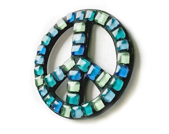 Mosaic PEACE Magnet, Blue Mosaic Peace Sign Magnet, Peace Sign Magnet, Handmade Mosaic Magnet, Blue Aqua Black Peace Sign Magnet