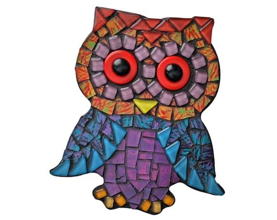 Mosaic Owl, Mixed Media Owl Wall Decor, Black Blue Purple Red Mosaic Owl Art, Mosaic Wall Art, Mosaic Owl Wall Hanging, Mosaic Owl Art