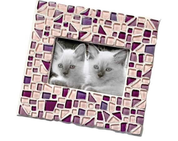Pink Purple Mosaic Glass Tile Frame, Mosaic Tile Frame, 4x6 Mosaic Frame, Pink and Purple Glass Tile Mosaic Frame, Glass Tile Mosaic Frame