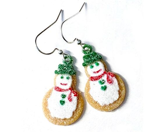 Gingerbread Snowman Earrings, Snowman Cookie Earrings, Dangling Gingermen Earrings, Holiday Sparkly Gingerbread Snowman Wire Earrings