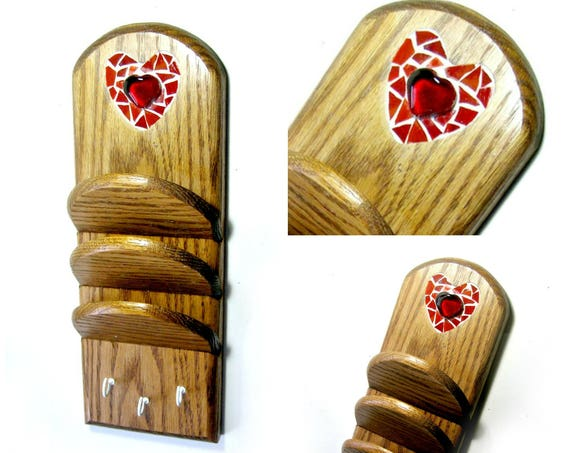 SALE-Heart Mosaic Key Hook Rack, Mosaic Letter Sorter Key Rack, Mosaic Leash Holder,Mosaic Letter Sorter with Hooks,Heart Mosaic Mail Sorter