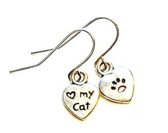 Silvertone Cat Love Earrings, Pierced Cat Paw Earrings, Handmade Cat Earrings, Dangle Cat Earrings, Nickel Free Wire Cat Heart Earrings