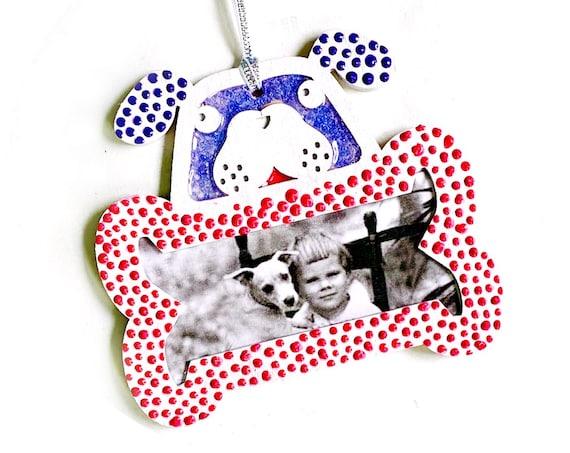 Hanging Frame Christmas Ornament, Dog Frame Ornament, Hanging Dog and Bone Frame, Blue Dog Ornament, Dog Lover Frame Ornament