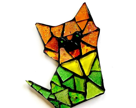 Fox Magnet, Mosaic Orange and Green Fox Magnet, Glitter Green and Orange Fox Magnet, Green Orange Glitter Glass Fox Cat Mosaic Magnet