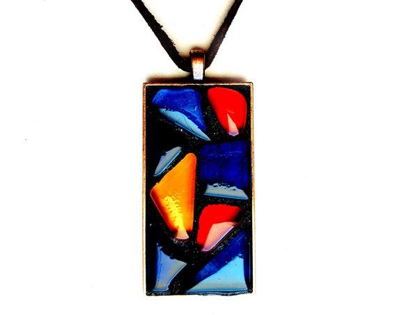 Mosaic Pendant, Copper Mosaic Pendant, Glass Mosaic Pendant on Suede Cord, Handmade Copper Geometric Mosaic Pendant, Primary Color Pendant