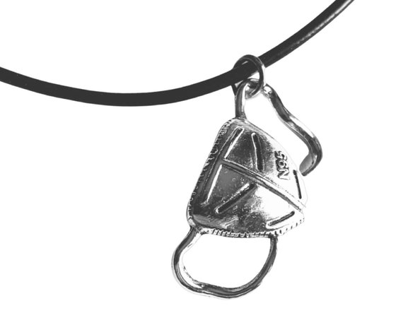 N95 Surgical Mask Pendant Necklace, Covid-19 Pendant Necklace, Silver Tone N95 Pendant on Black Cord, Medical Pendant Necklace