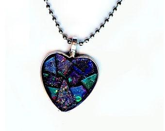 Purple Heart Pendant, Purple Heart Mosaic Pendant on Silver Ball Chain Necklace, Purple Mosaic Heart Necklace, Purple Glitter Heart Pendant
