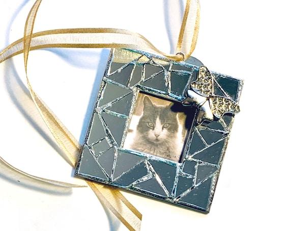 Silver Rose Mosaic Frame Ornament, Silver Black Mosaic Frame Ornament, Hanging Frame, Black Rose Silver Black Mosaic Photo Frame Ornament