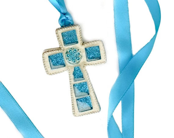 Mosaic Cross Pendant, Blue Glitter Cross Pendant, Blue Cross Pendant on Satin Ribbon, Blue Glass Mosaic Cross Pendant w/Venetian Glass Bead