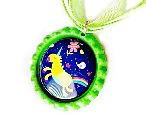 Unicorn Organza Ribbon Necklace, Rainbow Unicorn Ribbon Necklace, Purple Lime Green Unicorn Pendant, Unicorn Organza Ribbon Necklace Pendant