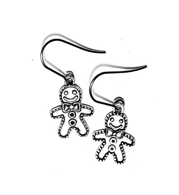 Silver Gingerbread Man Earrings, Silvertone Gingerbread Person Earrings, Gingerbread Wire Earrings, Dangling Pierced Silver Gingerbread Men