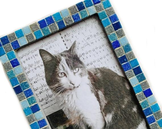 Blue Gray Mosaic Glass Tile Frame, Glass Tile Mosaic Frame, Gray Frame with Mini Glass Tiles, Blue and Grey 5x7 Mosaic Tile Frame