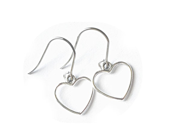 Heart Earrings, Open Heart Charm Earrings, Silver Tone Nickle Free Zinc Free Pierced Heart Earrings, Dangling Heart Earrings