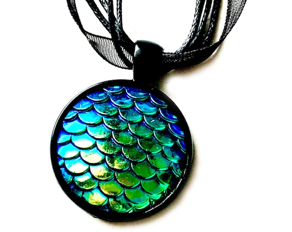Dragon Scales Pendant Necklace, Blue Green Scale Necklace with Black Organza Ribbon, Blue Green Black Mermaid Scale Organza Ribbon Necklace