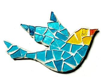 Mosaic Bird Magnet, Mosaic Glitter Bird Magnet, Blue Yellow Bird Magnet, Aqua Blue Yellow Glitter Glass Flying Bird Shaped Mosaic Magnet