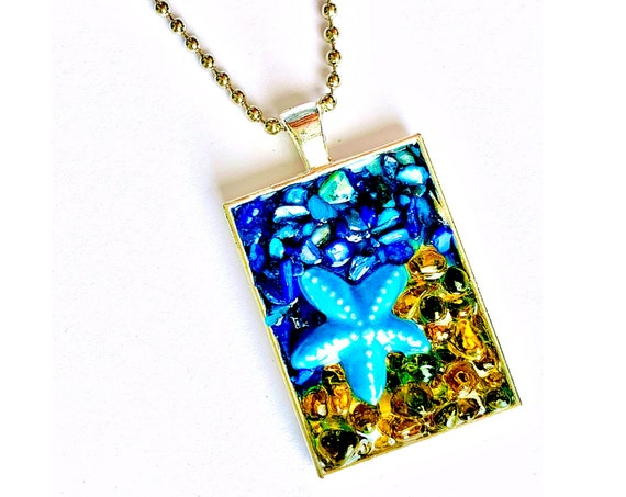 Starfish Pendant, Sea Star Mosaic Pendant, Sand and Sea Star Fish Mosaic Pendant on Ball Chain, Handmade Mosaic Sea Star Starfish Necklace